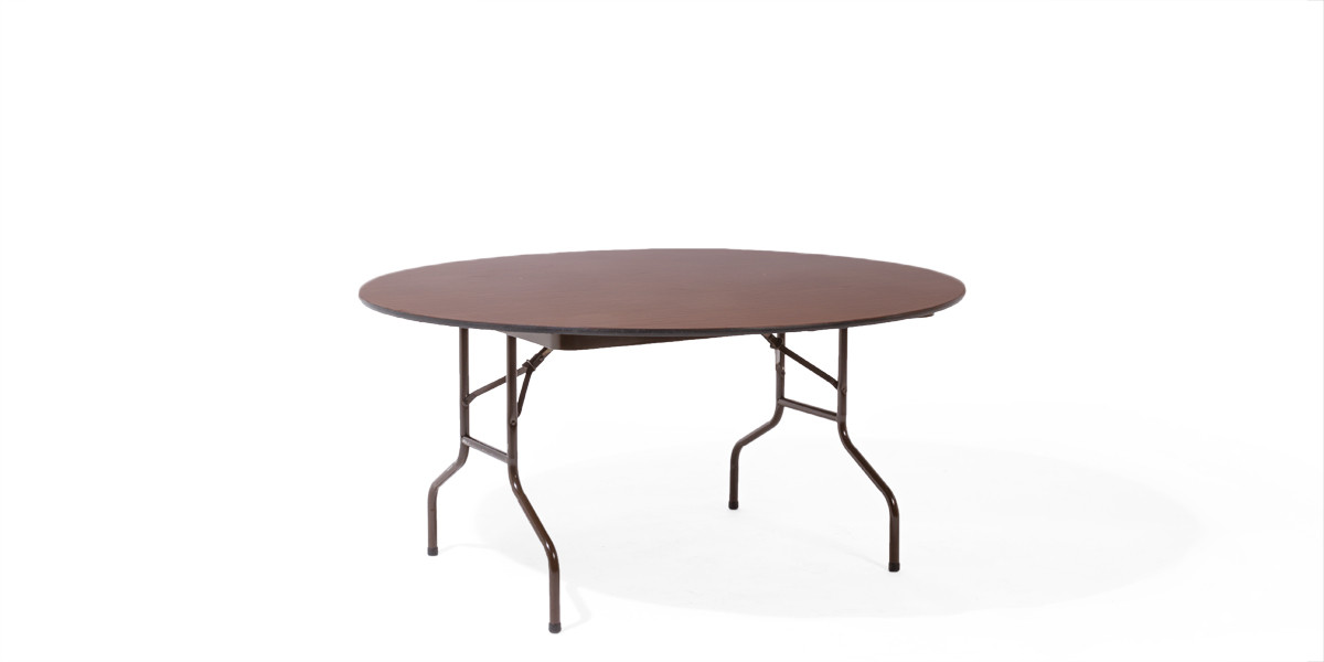 60″dia Walnut Round Folding Table TBL002517