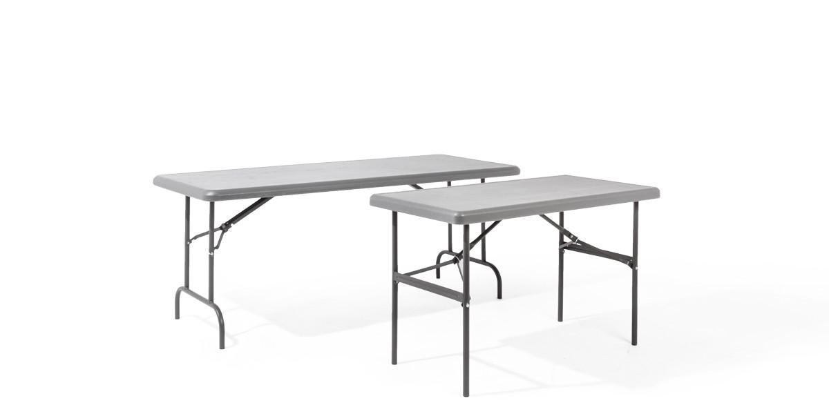 "48""w x 24""d Grey Resin Folding Table TBL013496"