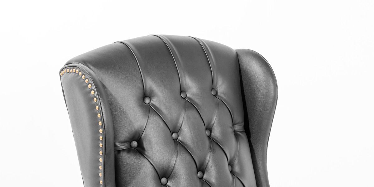 Black Leather Wing Back Club Chair TRD013680
