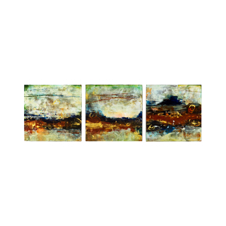 "11""w x 11""h Abstract Art Triptych"