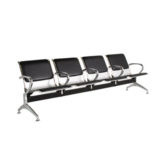 "94""w x 24""d Black Leather Tandem Seating BEN011055"