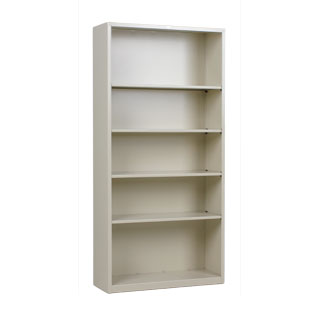 "34.5""w x 71""h Putty Metal Bookcase BKC012874"