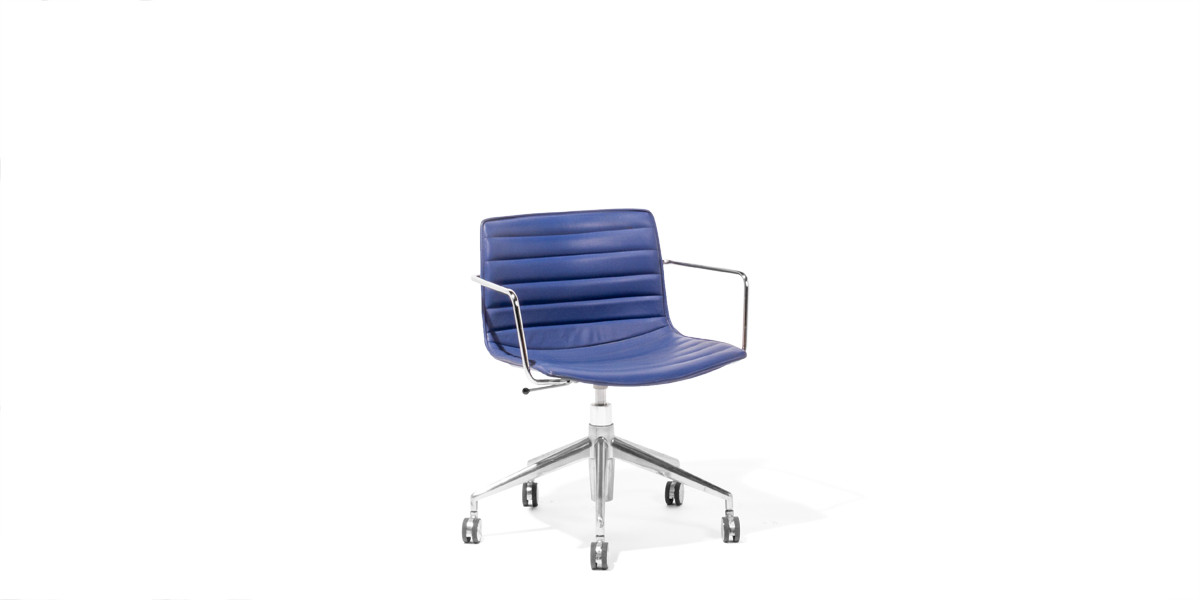 Blue Leather Mid-Back Office Chair CHR008899