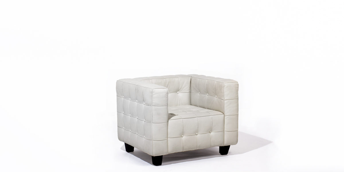 White Leather Club Chair CHR009217