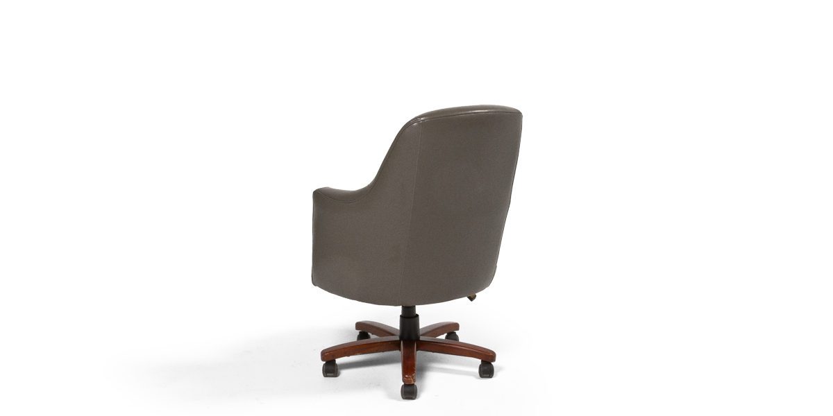 Grey Leather Executive Mid-Back Tub Chair CHR009950