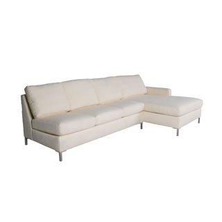 "72""w x 36""d Antique White Fabric Modular Pillow Back Sofa SOF011660"