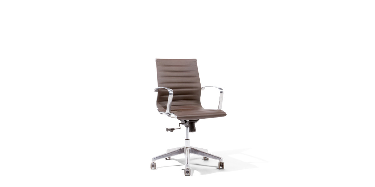 Brown Leather Eames Mid-Back Office Chair CHR012956