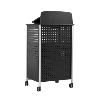 "28.5""w x 49.5""h Black Perforated Metal Lectern LEC013921"