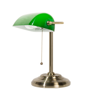 "13.5""h Brass Banker's Table Lamp LGT009228"