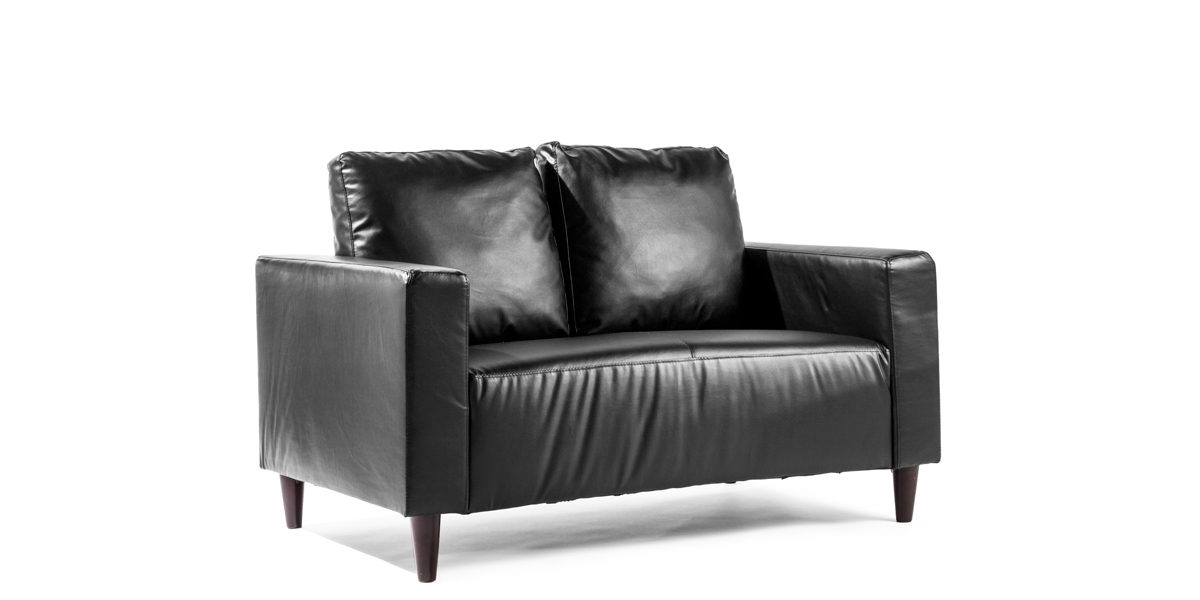 "54""w x 34""d Black Leather Pillowback Loveseat LVS012857"