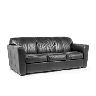 "82""w x 36""d Black Leather Sofa SOF008548"
