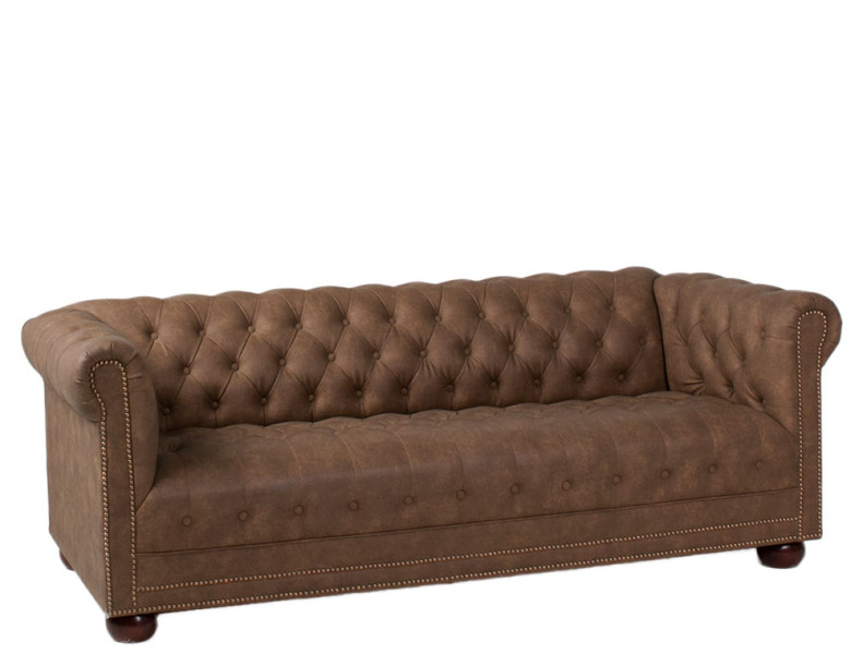 78 W X 35 D Faux Brown Suede Chesterfield Sofa Sof012007 Arenson