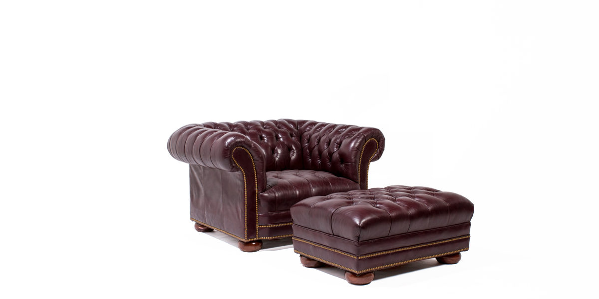 Oxblood Vinyl Chesterfield Club Chair TRD010326