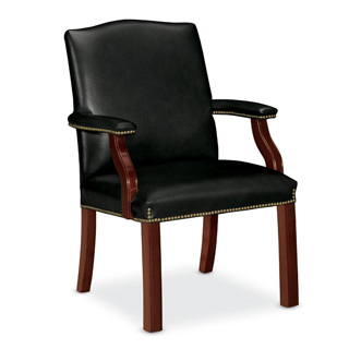 Traditional Black Vinyl Guest Chair TRD011599