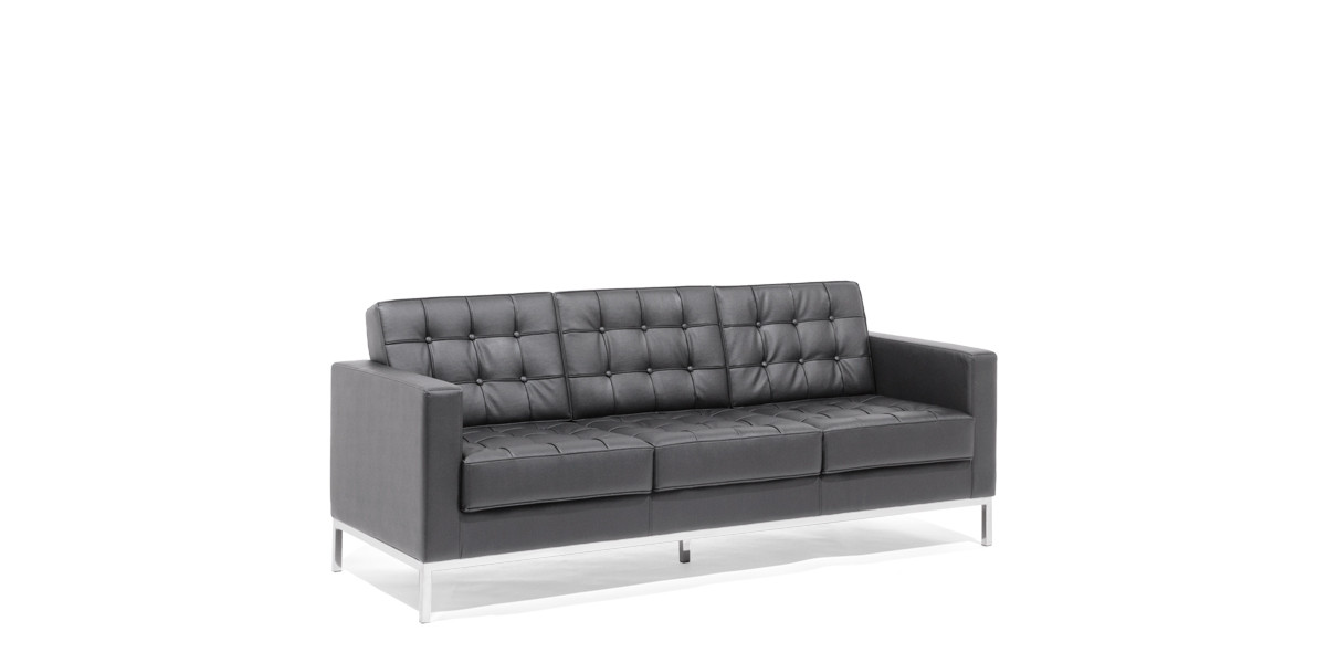 "90.5""w x 30.5""d Black Leather Sofa SOF013965"