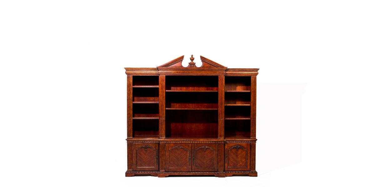 """96""""w x 80""""h Traditional Walnut Bookcase BKC006646"""