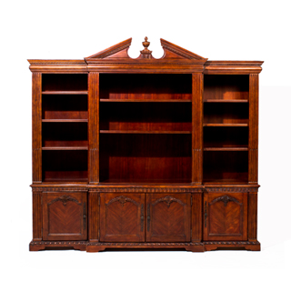 "96""w x 80""h Traditional Walnut Bookcase BKC006646"