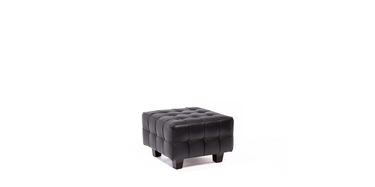24''w x 24''d Black Leather Ottoman OTM013895