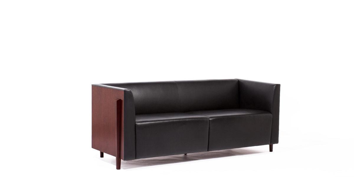"72""w x 27""d Black Leather Sofa SOF009194"