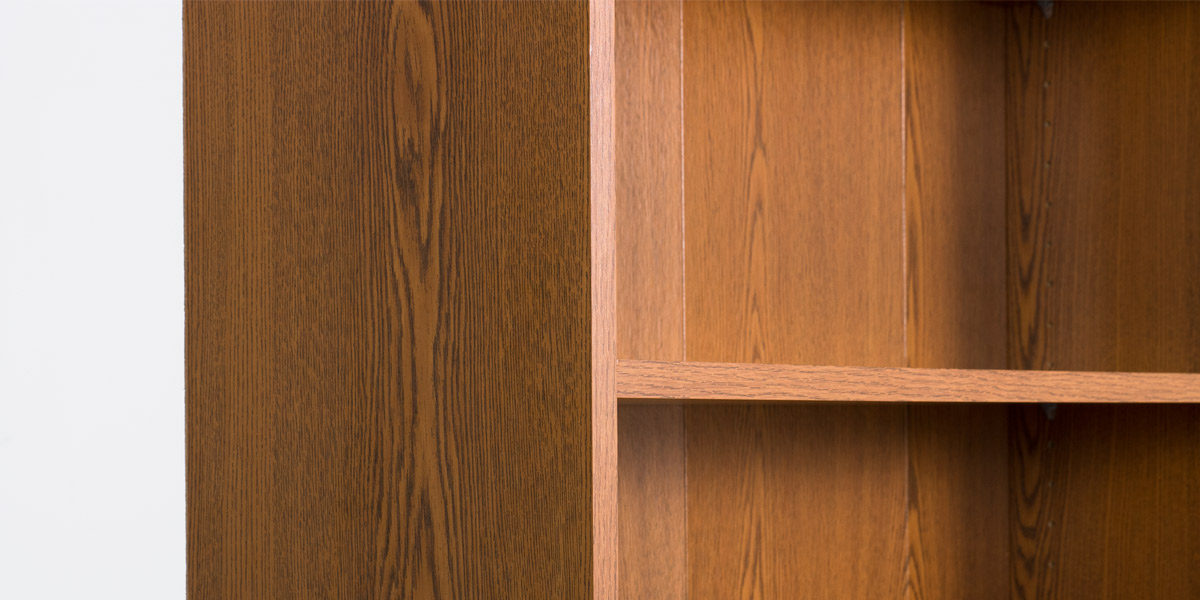 "36""w x 84""h Medium Oak Laminate Bookcase + Cabinet BKC011403"