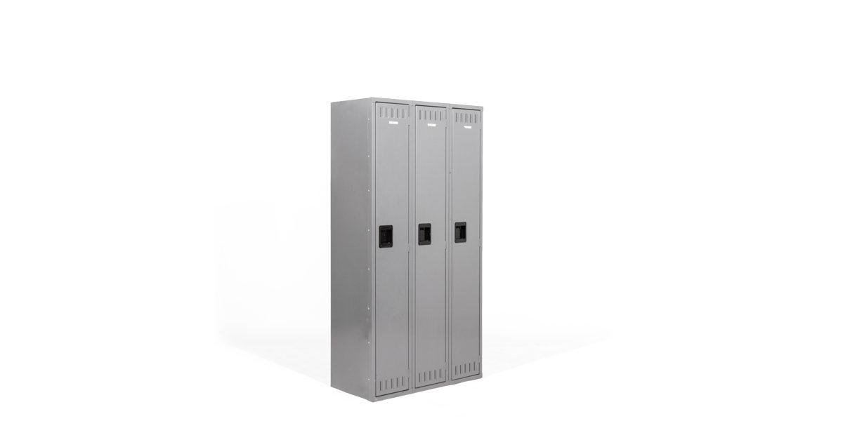 "36""w x 18""d Medium Grey Three Single Door Locker CAB012219"