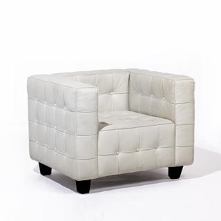 White Leather Button Club Chair CHR009217