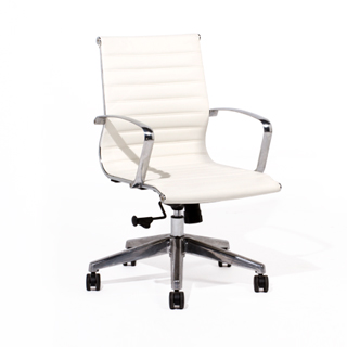 White Leather Eames Mid-Back Office Chair CHR011997