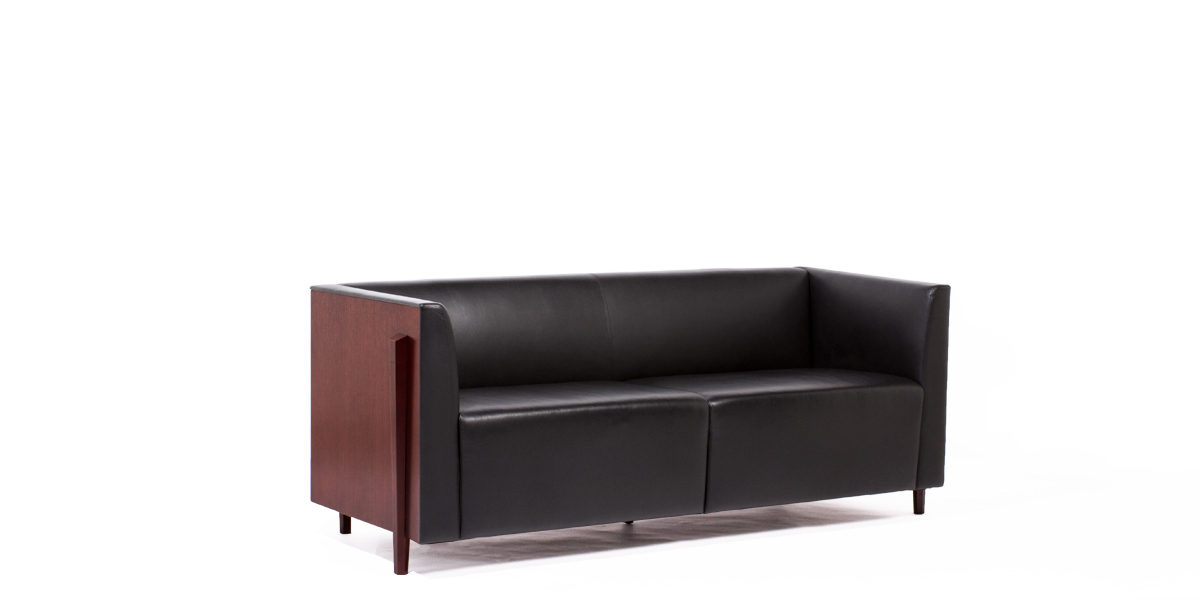"72""w x 27""d Black Leather Sofa SOF009194"