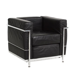 Black Leather Corbusier Style Club Chair CHR005614