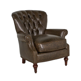 Distressed Brown Leather Club Chair CHR012192