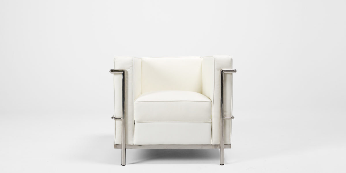 White Leather Corbusier Style Club Chair CHR013250