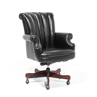 Black Leather Traditional Office Chair CHR014030