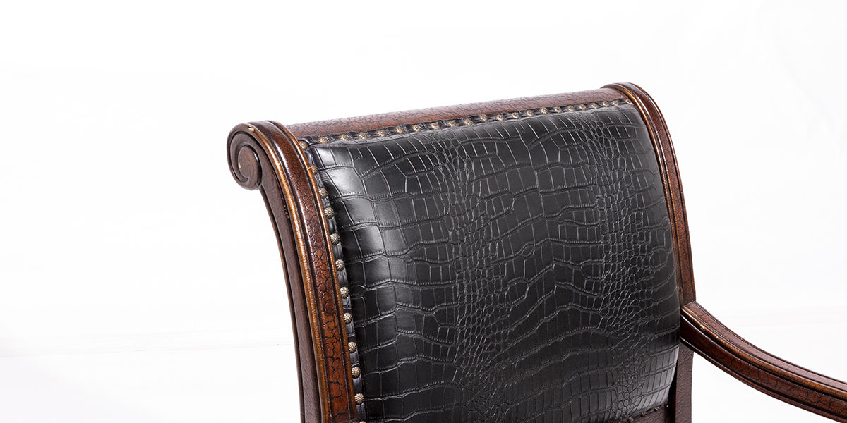 Black Embossed Leather Guest Chair CHR014128