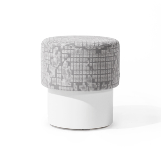 Grey Patterned Fabric Stool CHR014135