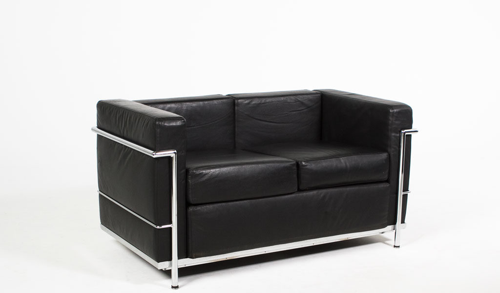 "51""w x 27""d Black Leather Corbusier Style Loveseat LVS005615"