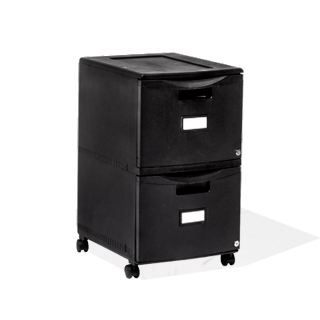 "14.75""w x 26""h Black Plastic Mobile Pedestal PED014055"