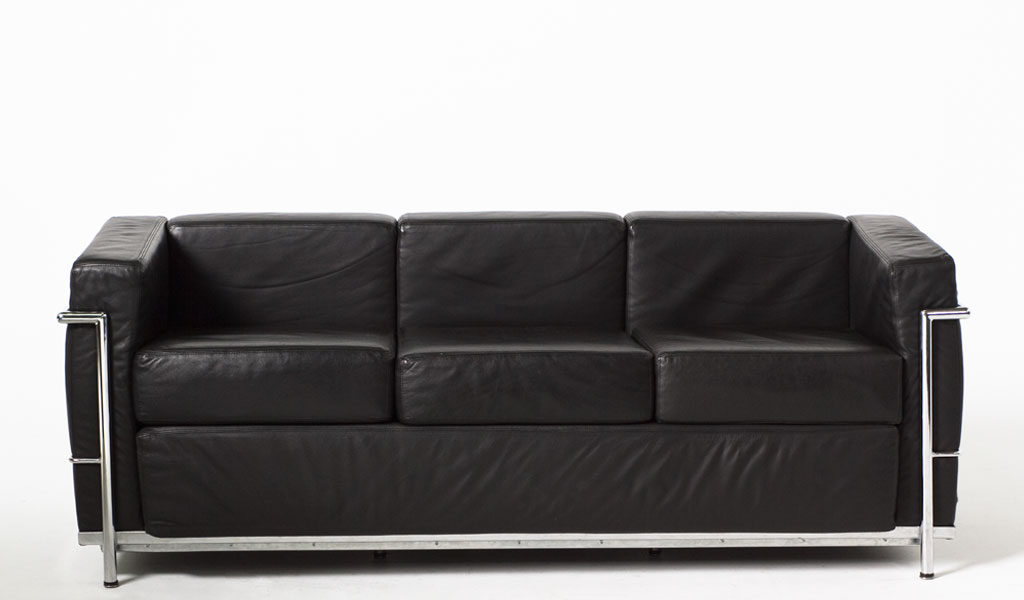 "68""w x 27""d Black Leather Corbusier Style Sofa SOF005616"