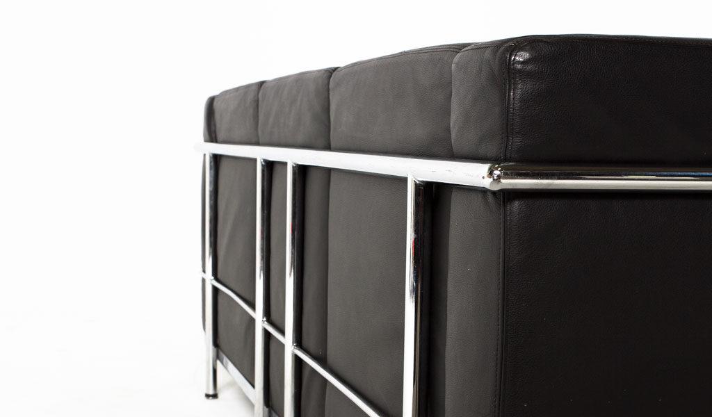 "68""w x 27""d Black Leather Corbusier Style Sofa SOF005616"