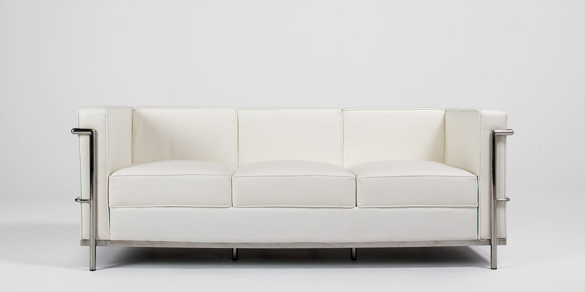 "71""w x 27.5""d White Leather Corbusier Style Sofa SOF013249"