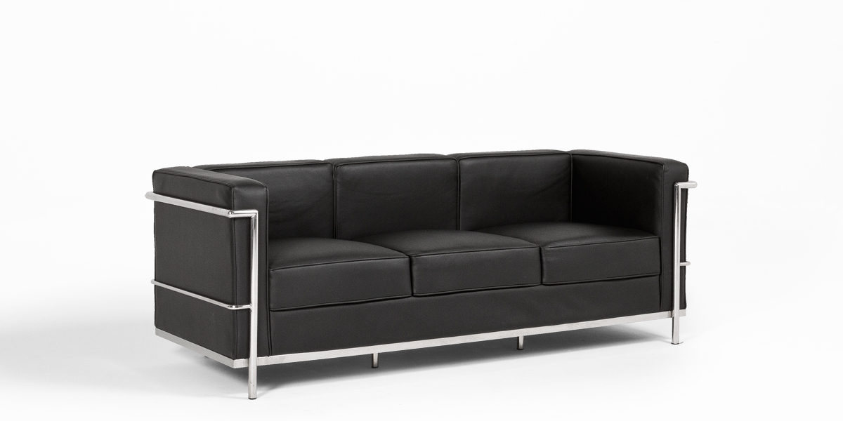 "72""w x 27""d Black Leather Corbusier Style Sofa SOF013379"