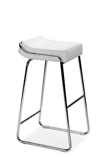 White Vinyl Wedge Bar Stool CHR011759
