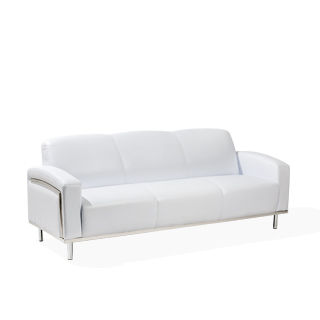 81.5″w x 32″d White Leather Sofa SOF014005
