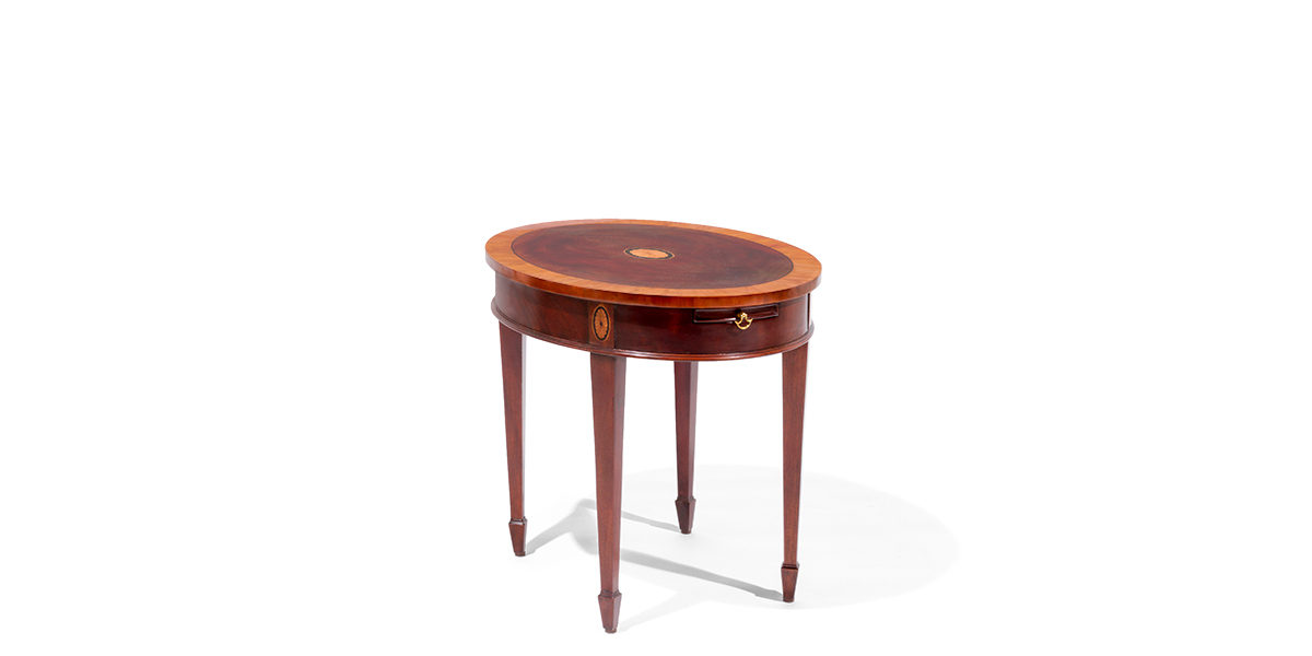 "25.75""w x 21.75""d Mahogany Oval Side Table TBL014023"