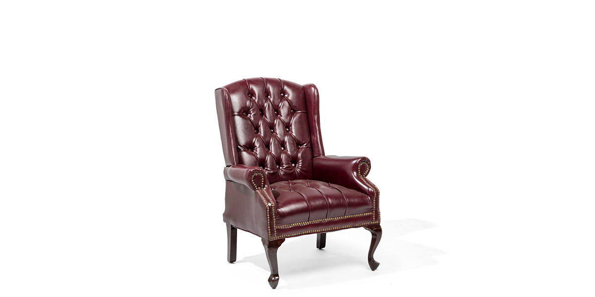 Traditional Oxblood Wing Back Club Chair CHR003535