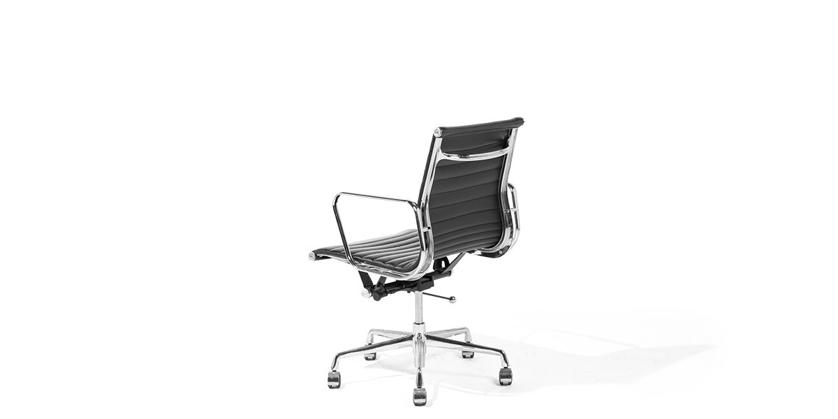 Black Leather Eames Mid-Back Swivel Chair CHR011033