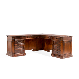 "72""w x 72""d  Mahogany L-Shape Desk DSK014011 + DSK014015"