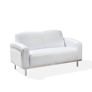 "58""w x 32""d White Leather Loveseat LVS014006"