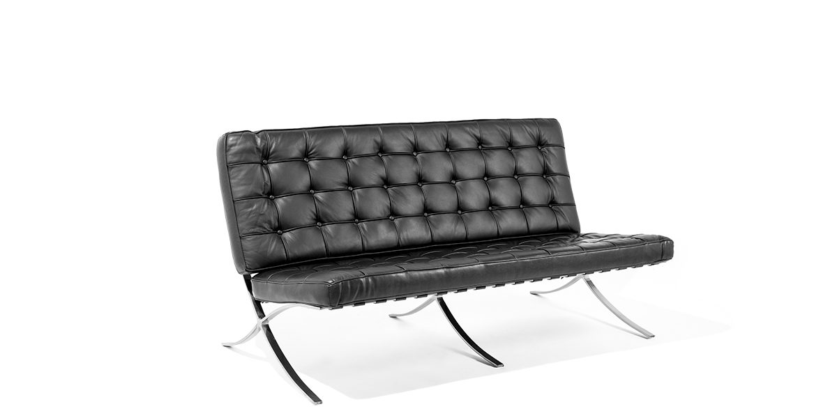 "59""w x 34""d Black Leather Barcelona Sofa SOF008822"
