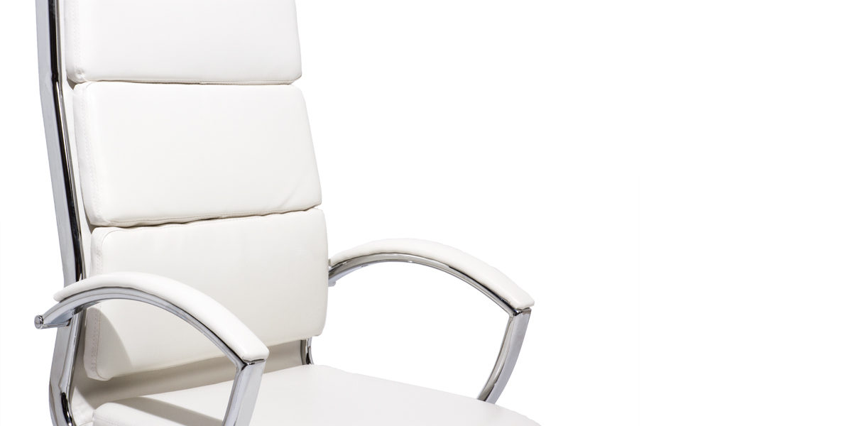 White Leather Hi-Back Swivel Chair CHR013989