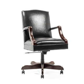 Black Vinyl Mid-Back Swivel Chair CHR013968